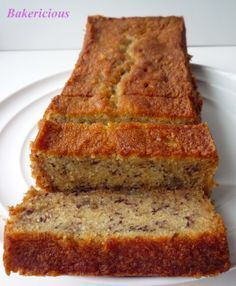 Soft and Moist Banana Cake Ingredients: ( for one x x & one x x salted butter 1 cups castor sugar (I will reduce the sugar depending on what type of banana that I used and how ripe the bananas are, normally to 4 eggs 1 tsp vanilla essence 4 tbsp mi Moist Banana Cake Recipe, Moist Banana Bread, Banana Bread Recipes, Easy Cake Recipes, Dessert Recipes, Baking Desserts, Banana Bread Recipe Without Baking Soda, Delicious Recipes, Cake Baking