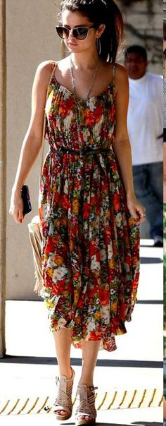 Girly floral spaghetti strap summer dress