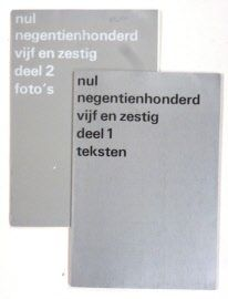 NUL - Zero nul negentienhonderd vijf en zestig - deel 1 teksten, deel 2 foto's Amsterdam, Stedelijk Museum, 1965. Pap., with silver covers, 2 vols., 27.5 x 19 cms, unpaginated, illustrations in bl/w. With short biographies and excerpts from texts by or on all participating artists in various languages. Published on the occasion of this important Zero-exhibition, including all major Zero artists. Rare, especially as a complete set. - Good set of this vulnerable catalogue (lumbecked, not…