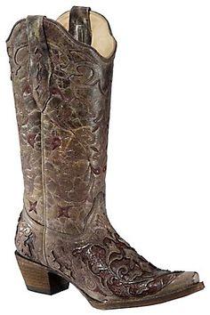 Corral Ladies Distressed Brown w/ Rust Brown Caiman Inlay Snip Toe Western Boots