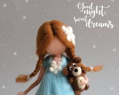 Little good night fairy with her teddy bear, best friends, waldorf, needle felted fairy,good night,