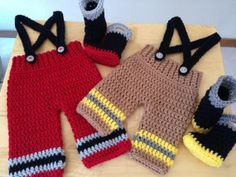 free crochet fireman patterns | CROCHET PATTERN Baby Fireman Pants Suspenders by CarynsYarnBasket, $8 ...