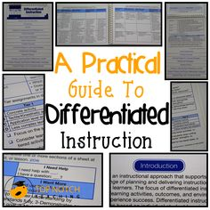 This practical guide to differentiated instruction will help you to take a more proactive approach in catering for individual student learning styles and needs. (page curriculum and instruction as the vehicle) Differentiation Strategies, Differentiation In The Classroom, Differentiated Instruction, Teaching Strategies, Teaching Tips, Writing Strategies, Teaching Biology, Gifted Education, Special Education