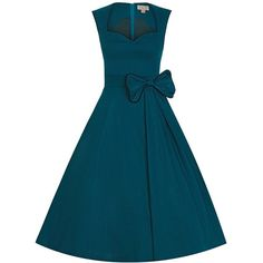'Grace' Teal Swing Dress ($46) ❤ liked on Polyvore featuring dresses, starry dress, retro-style dresses, blue swing dress, retro dress and swing dress