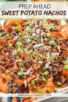 Prep Ahead Sweet Potato Nachos are piled high with taco meat and are veggie loaded! A lighter version of a pan of nachos means all that nacho goodness, and so many more nutrients and veggies! Say hello to healthy sweet potato nachos. Sweet Potato Nachos, Loaded Sweet Potato, Sweet Potato Recipes, Healthy Meal Prep, Healthy Eating, Healthy Recipes, Healthy Lunches, Meal Prep Sweet Potatoes, Healthy Nachos