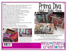 "Meet the Prima Diva - the Diva wallet's bigger, more organized sister!Is it a wallet?  Is it a wristlet?  Is it a purse?  It's all of those!  This versatile organizer wallet can be made with an optional wrist strap or chain loops.  Inside you'll find lots of card pockets - 12 card pockets, 3 open pockets, 2 zippered pockets and plenty of room for your cash and phone too!The Prima Diva uses the same 7 1/2"" frame as the Diva Wallet.  Available in Silver or Gunmetal (Diva Page)Finished size: 7…"