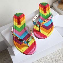 Valentinoed sandals Summer beach v female slippers rivet flat flip flops flip oxford sole slippers