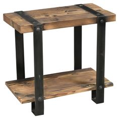 Add bourbon barrel accents next to your loveseat or at your bedside with this farmhouse-inspired end table, showcasing 2 tiers and a rustic lime wash finish....