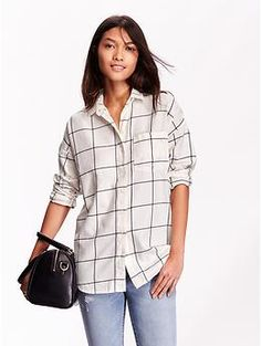 Women's Boyfriend Windowpane Flannel Shirt | Old Navy