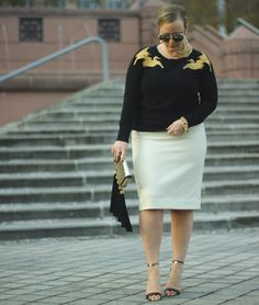 Winter White JCrew Pencil Skirt Outfit