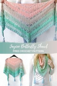 Make this beautiful butterfly crochet shawl with my free pattern on and video tutorial on . This triangle shawl is worked top-down and made with a gradient yarn cake. Crochet Shawl Free, Crochet Shawls And Wraps, Crochet Scarves, Crochet Clothes, Crochet Lace, Crochet Mandala, Easy Crochet, Lace Shawls, Crochet Afghans