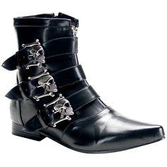 Demonia Brogue 06 Boot (31.825 IDR) ❤ liked on Polyvore featuring shoes, boots, bootie boots, demonia boots, black goth boots, black brogue boots and goth boots