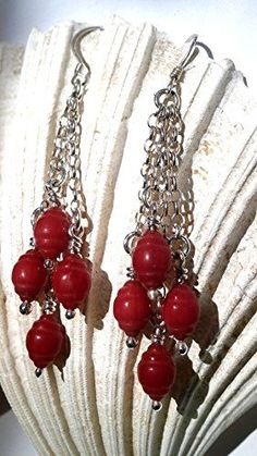 Long coral earrings, Coral multi chain, Sterling Silver long Earnings, Red Coral Dangle Earrings, Gift for her Preppy Fall Outfits, Summer Fashion Outfits, Women's Fashion Dresses, Boho Fashion, Womens Fashion, Coral Earrings, Dangle Earrings, Jewelry Boards, Red Coral