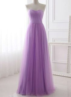 6d875c7b59 A-Line Lavender Tulle Sweetheart Neck Simple Prom Dress. A Line Prom  DressesFormal ...