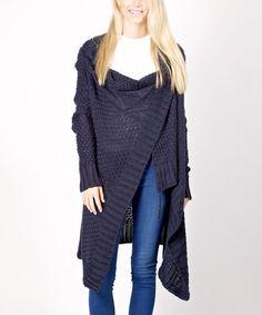 It's Sweater Weather---Look at this #zulilyfind! Navy Blue Convertible Wool-Blend Open Cardigan #zulilyfinds