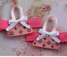 Louis Vuitton Inspired Clippies. Pink purse Little Girls Hair Clips. 2 Clippies. $5.00, via Etsy.