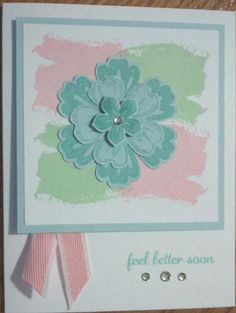 Get Well card - The Work of Art background is cased from a video on Pinterest by Connie Stewart. The white glue is used to keep the ends of the ribbon from fraying.