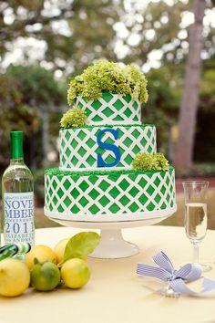 Preppy monogrammed wedding cake.  Photo by Sarah Kate Photographer.  #wedding #cakes