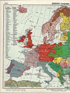 vintage map of European languages circa 1939 - 3.50