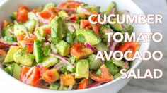 This Cucumber Tomato Avocado Salad recipe is a keeper! Easy, Excellent Salad with a light, flavorful lemon dressing and freshness of cilantro. We sold our ho...