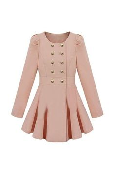 Double-breasted Skirt Hem Design Pink Trench-coat $65.99