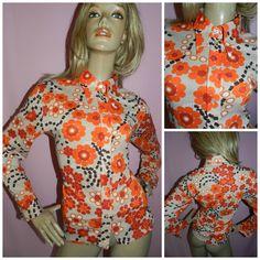 Vintage 60s 70s ORANGE PSYCHEDELIC Flower Power Mod KITSCH Shirt Blouse 16-18…