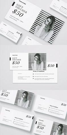 Fashion Gift Voucher Simply customize and editable. Web Design, Flyer Design, Print Design, Branding Design, Shopping Vouchers, Gift Vouchers, Indesign Free, Gift Voucher Design, Name Card Design