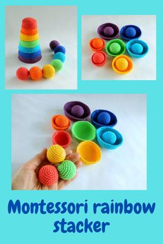 Montessori rainbow stacker. Eco friendly educational toys. Montessori materials for memory game. Gender neutral baby Christmas gift Fiddle Toys, Organic Baby Toys, Baby Christmas Gifts, Montessori Materials, Memory Games, Gender Neutral Baby, Crochet For Beginners, Educational Toys, Crochet Toys