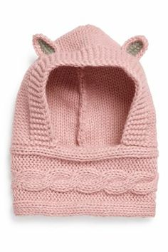 Pink Bunny Knitted Hooded Snood (1-16yrs)