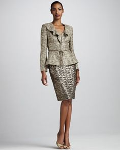 ♥ Ruffled Metallic Suit by Kay Unger New York at Neiman Marcus.