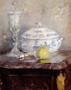 MORISOT, Berthe French Impressionist (1841-1895)_Tureen And Apple 1877