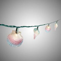 One of my favorite discoveries at ChristmasTreeShops.com: 8.25' Blue/ Pink Seashell String Lights