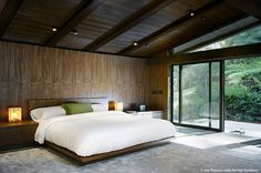 A bedroom in May's experimental ranch. Was completed in 1952.