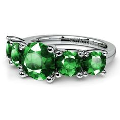 A memorable summer wedding treat: Sparkle forever in glittering green emeralds with the Trellis Five Emerald Gemstone Wedding Ring in sleek, durable Platinum!