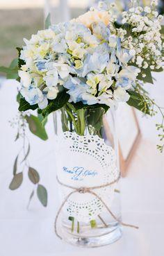 Baby Shower Flowers its a boy.. Blue hydrangea, peach carnation, seeded eucalyptus and gyp. By Zoeys Garden Flowers