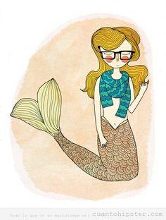Ilustración sirena gafapasta y hipster