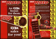 UK - Nestle - Rolo - One Extra Rolo - promotional flyer - … Old Candy, Promotional Flyers, Rolo