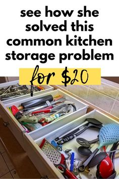 If you're tired of your cluttered kitchen drawers check out how to make an easy utensil drawer divider organizer for cheap. Easy way to organize your kitchen drawer on a budget. Kitchen Drawer Dividers, Kitchen Drawer Organization, Kitchen Drawers, Kitchen Storage, Diy Organization, Mercury Glass Lamp, Glass Lamp Base, Storage Hacks, Storage Solutions