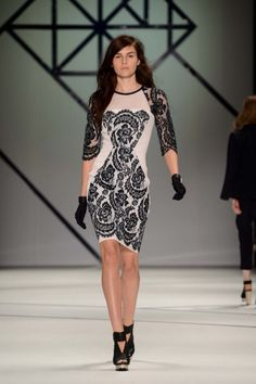 Lace patterned monochrome dress from Ginger and Smart, as shown at Mercedes Benz Fashion Week. Ginger And Smart, Smart Dress, Teenage Daughters, Vogue Australia, Dress Me Up, Ready To Wear, Luxury Fashion, Silk, Lace