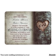 Tree rustic wedding invitations