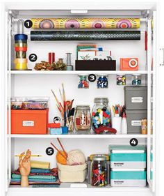 Storage Ideas for Small Spaces - I love how they organize gift wrap!  Tension rods, paper towel rolls, jars screwed to the shelf - genius.  The other slideshow pics give great tips on dividing drawers.