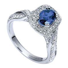 14k White Gold Diamond and Sapphire Fashion Ladies' Ring LR6623W44SA