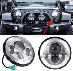Steel Motorcycle Chrome Projector Daytime Running LED Light Bulb Headlight For Harley For Jeep x inch (D x H)-White, White Jeep Wrangler, Motorcycle Parts, Light Colors, All In One, Chrome, Black 7, White White, Stuff To Buy, Light Bulb