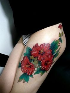 You Can Have The Hawaiian Hibiscus Flowers For Your Leg Tattoo Designs