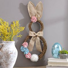 Add a beautiful bunny charm to your Easter collection with our Rattan Bunny Wreath. A darling design makes this a great Easter accent. Bunny Crafts, Easter Crafts, Crafts For Kids, Diy Crafts, Easter Wreaths, Holiday Wreaths, Happy Easter, Easter Bunny, Porch Wall Decor