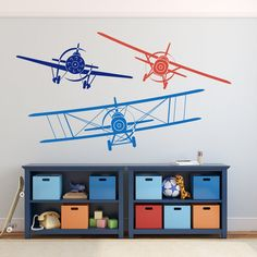 3 AIRPLANES Vinyl Wall Removable Decal 3 COLORS  by AmericanDecals