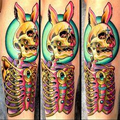 Electro bunny death tattoo by Sam Clark