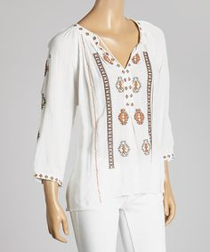 Look what I found on #zulily! White Tribal Peasant Top #zulilyfinds