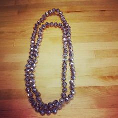 "Silver Beaded Necklace 40"" $26"