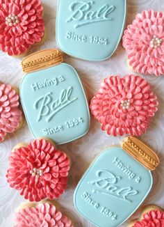 Having a Ball Mason Jar and Dahlia Flower Decorated Cookies - One Dozen Decorated Sugar Cookies by thesweetesttiers on Etsy https://www.etsy.com/listing/249630052/having-a-ball-mason-jar-and-dahlia
